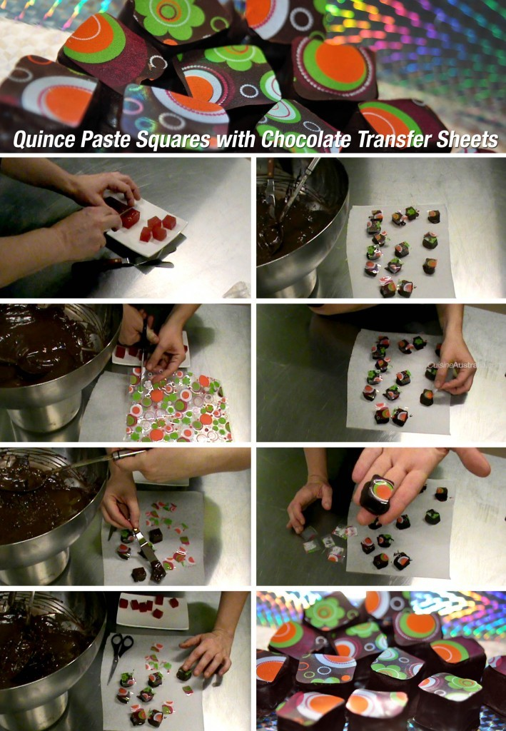 Quince Paste Squares with Hippy Chocolate Transfer Sheets
